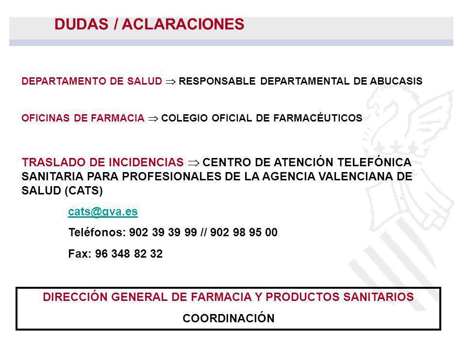 DEPARTAMENTO DE SALUD RESPONSABLE DEPARTAMENTAL DE ABUCASIS OFICINAS DE FARMACIA COLEGIO OFICIAL DE FARMACÉUTICOS DUDAS / ACLARACIONES DIRECCIÓN GENER
