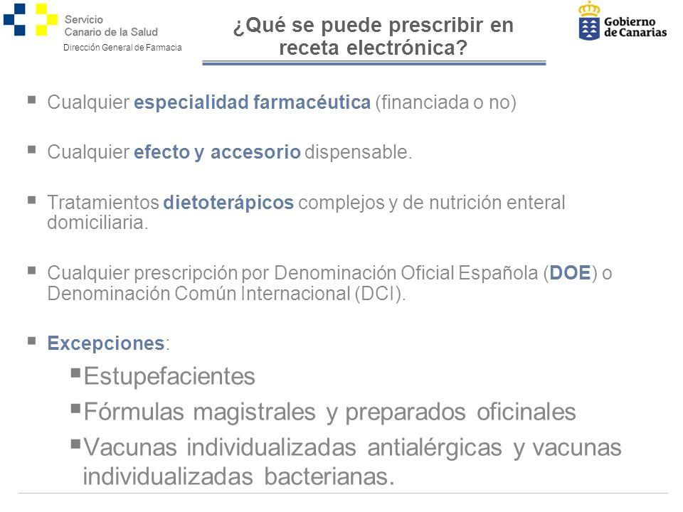 Dirección General de Farmacia ¿Qué se puede prescribir en receta electrónica.