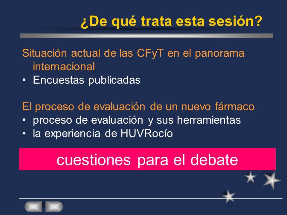 ¿De qué trata esta sesión? Situación actual de las CFyT en el panorama internacional Encuestas publicadas El proceso de evaluación de un nuevo fármaco