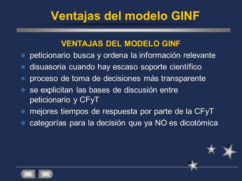 Ventajas del modelo GINF VENTAJAS DEL MODELO GINF peticionario busca y ordena la información relevante disuasoria cuando hay escaso soporte científico