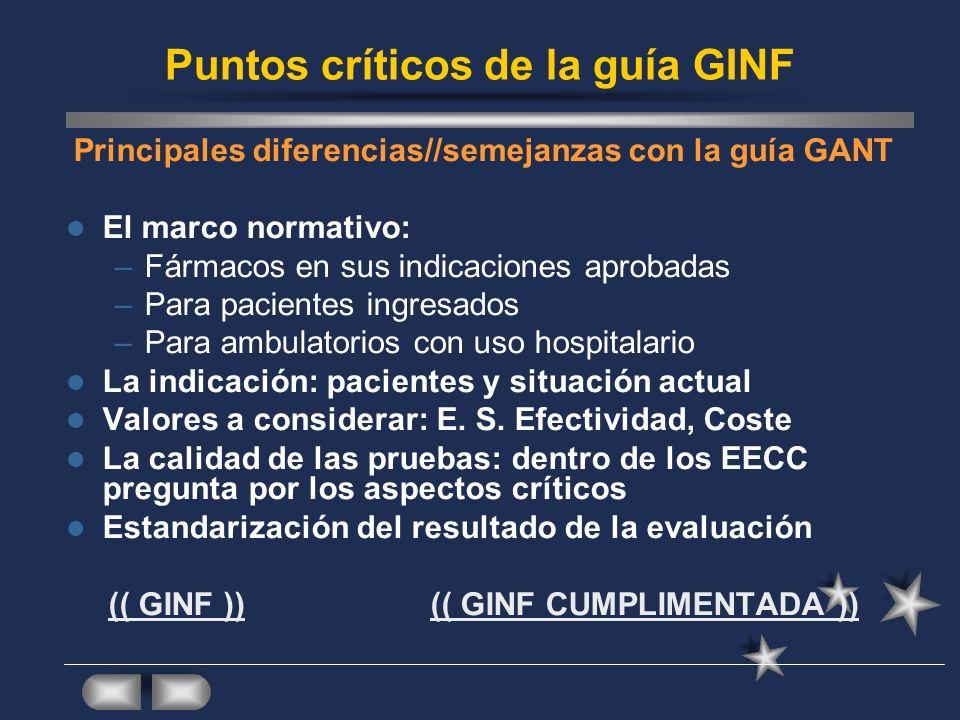 Puntos críticos de la guía GINF Principales diferencias//semejanzas con la guía GANT El marco normativo: –Fármacos en sus indicaciones aprobadas –Para