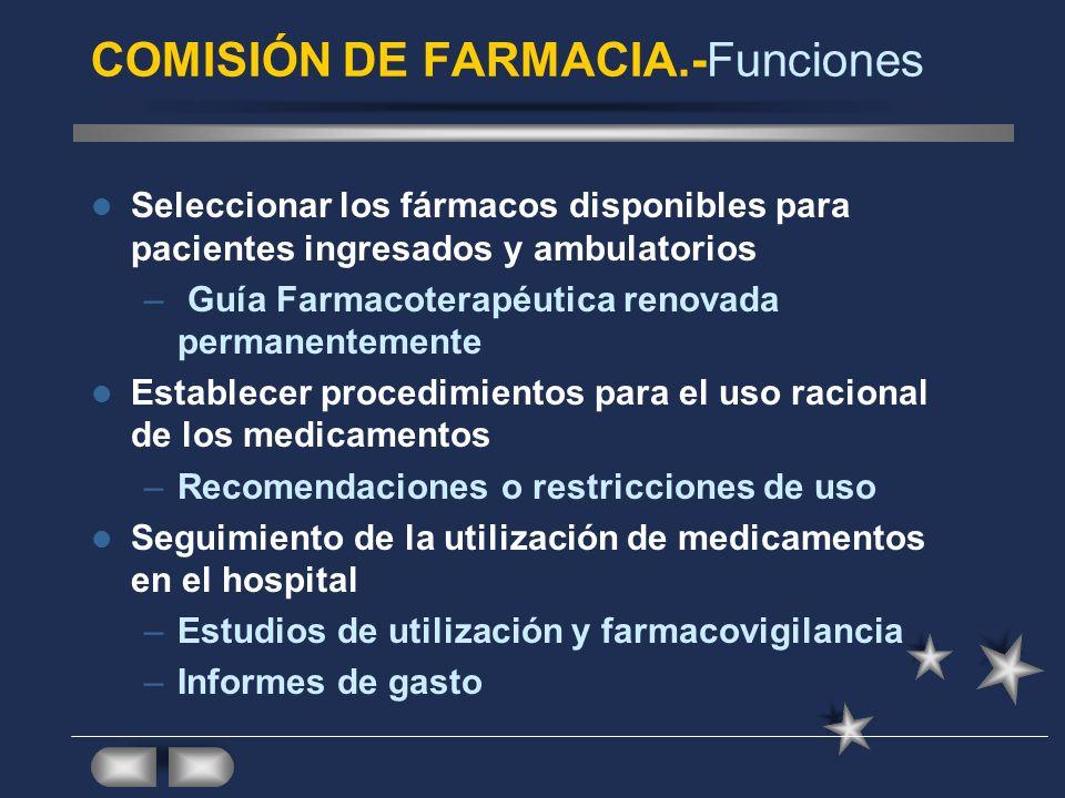 COMISIÓN DE FARMACIA.- Definiciones Dentro del organigrama de calidad Regulada por la Ley: Ley del Medicamento: Las administraciones sanitarias adoptarán las medidas necesarias para que en las estructuras de Atención Especializada y Atención Primaria se lleve a cabo la selección y valoración científica de los medicamentos y de su empleo a través de las Comisiones de Farmacia y Terapéutica Leyes de ordenación farmacéutica de las CCAA
