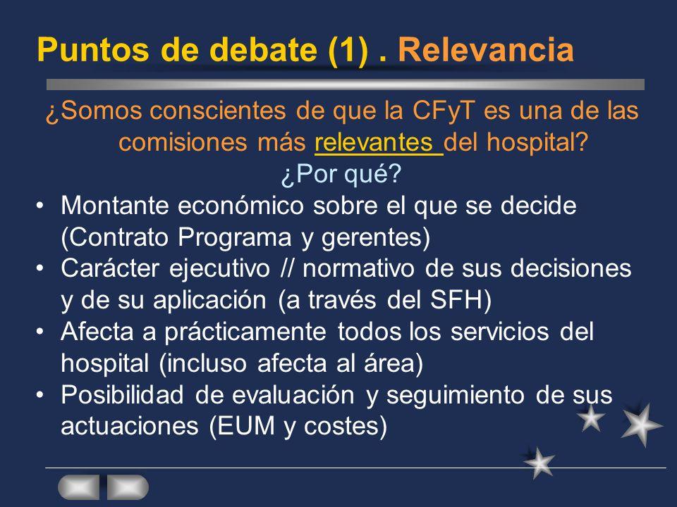 Puntos de debate (1). Relevancia ¿Somos conscientes de que la CFyT es una de las comisiones más relevantes del hospital? ¿Por qué? Montante económico