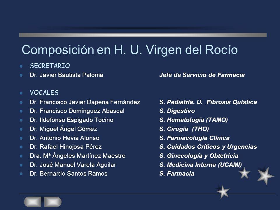 SECRETARIO Dr. Javier Bautista PalomaJefe de Servicio de Farmacia VOCALES Dr. Francisco Javier Dapena FernándezS. Pediatría. U. Fibrosis Quística Dr.