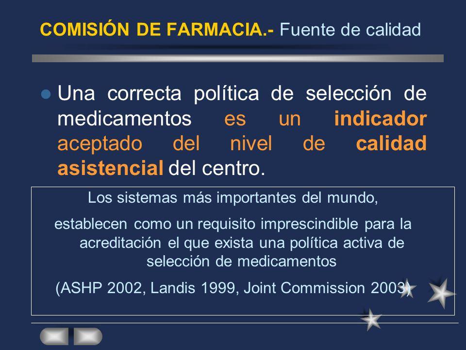 COMISIÓN DE FARMACIA.- Criterios de calidad Guidelines de la ASHP Recomendaciones de la SEFH El INSALUD editó en colaboración con la SEFH la Guía de Gestión de los Servicios de Farmacia Hospitalaria.