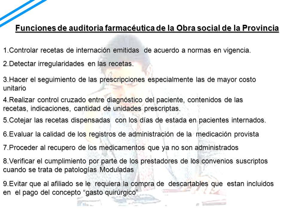 Funciones de auditoria farmacéutica de la Obra social de la Provincia 1.Controlar recetas de internación emitidas de acuerdo a normas en vigencia. 2.D