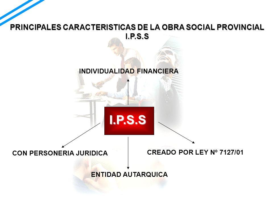 248.332 AFILIADOS 68.74% AFILIADOS FORZOSOS 14,2% AFILIADOS PASIVOS 12,2% AFILIADOS P.A.M.I RESTO: OTROS PRINCIPALES CARACTERISTICAS DE LA OBRA SOCIAL PROVINCIAL I.P.S.S (23,16% de la población de Salta)