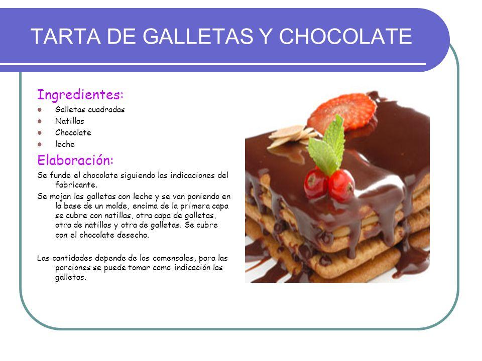 TARTA DE GALLETAS Y CHOCOLATE Ingredientes: Galletas cuadradas Natillas Chocolate leche Elaboración: Se funde el chocolate siguiendo las indicaciones