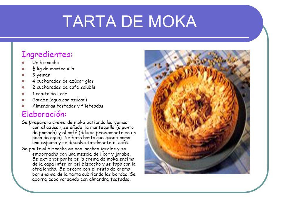 TARTA DE MOKA Ingredientes: Un bizcocho ¼ kg de mantequilla 3 yemas 4 cucharadas de azúcar glas 2 cucharadas de café soluble 1 copita de licor Jarabe