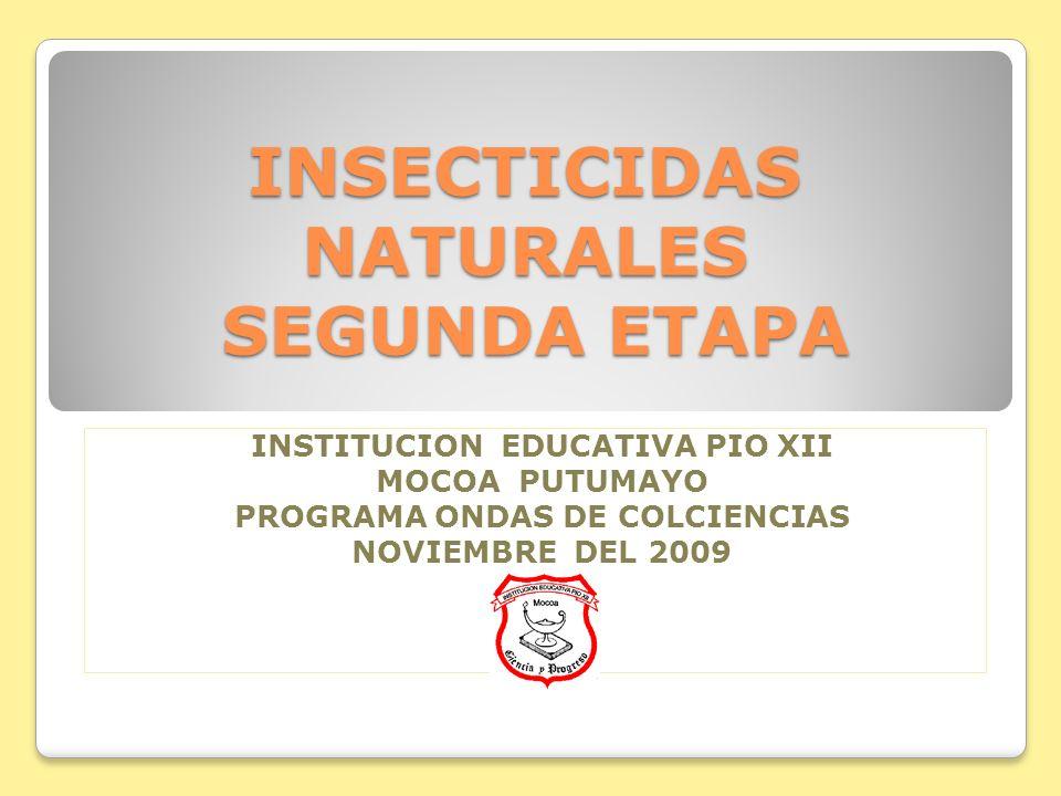 INSECTICIDAS NATURALES SEGUNDA ETAPA INSTITUCION EDUCATIVA PIO XII MOCOA PUTUMAYO PROGRAMA ONDAS DE COLCIENCIAS NOVIEMBRE DEL 2009