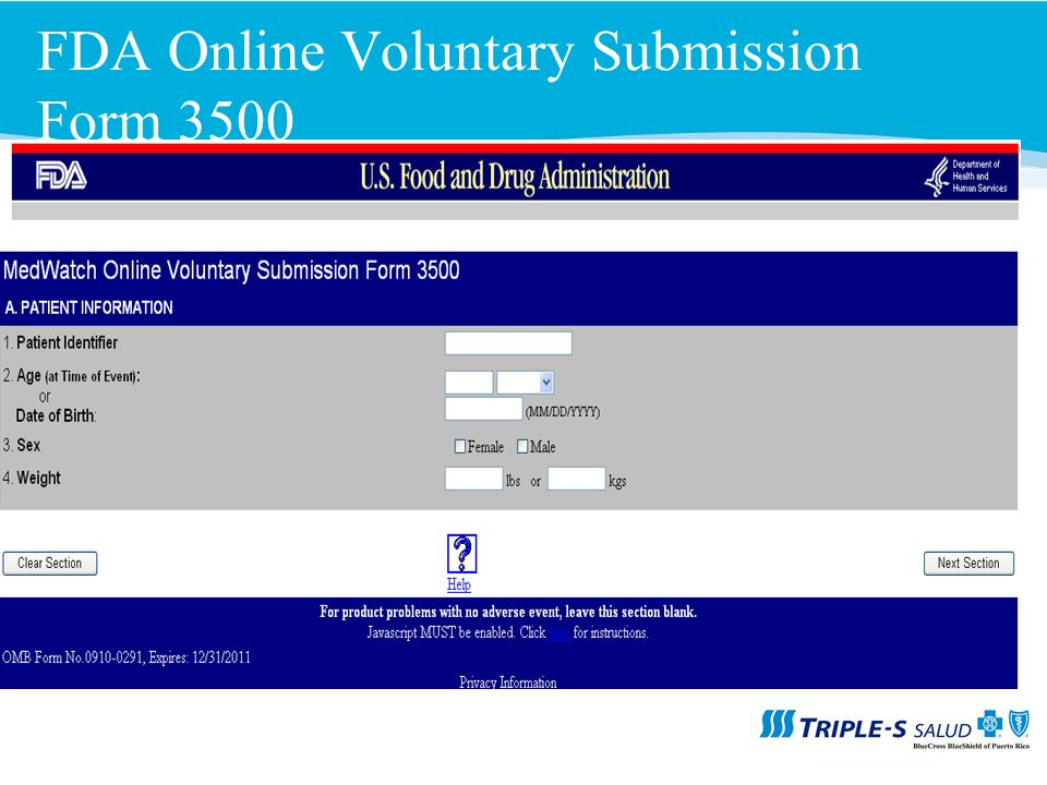 FDA Online Voluntary Submission Form 3500