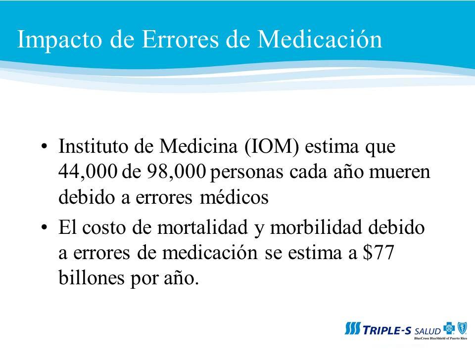 Impacto de Errores de Medicación Instituto de Medicina (IOM) estima que 44,000 de 98,000 personas cada año mueren debido a errores médicos El costo de mortalidad y morbilidad debido a errores de medicación se estima a $77 billones por año.