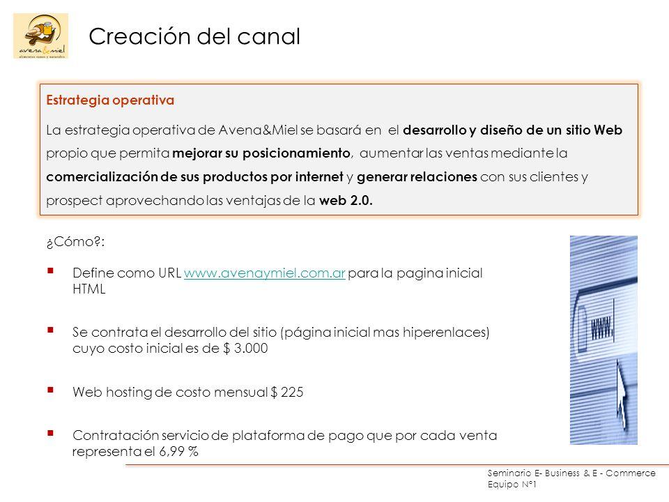 Seminario E- Business & E - Commerce Equipo N°1 Creación del canal Estrategia operativa La estrategia operativa de Avena&Miel se basará en el desarrol