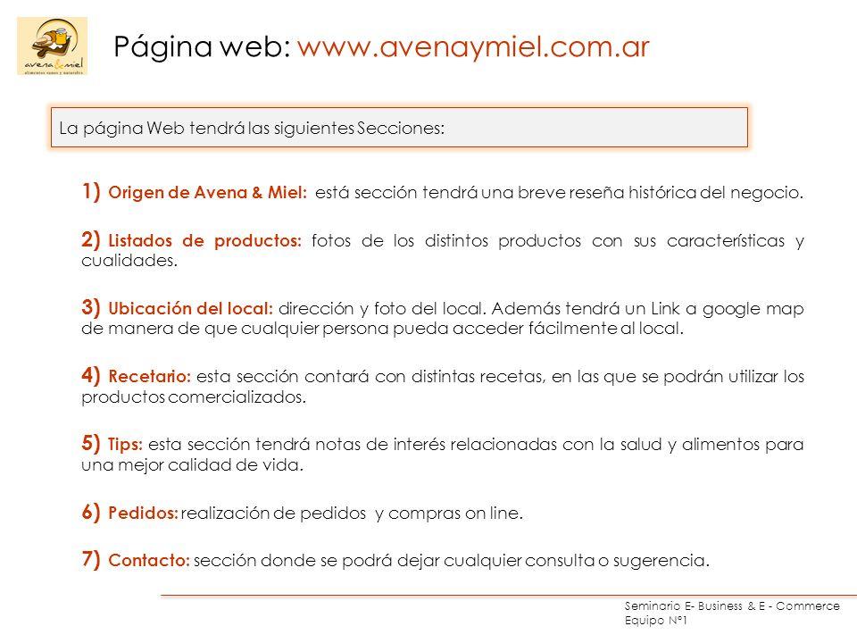 Seminario E- Business & E - Commerce Equipo N°1 1) Origen de Avena & Miel: está sección tendrá una breve reseña histórica del negocio. 2) Listados de