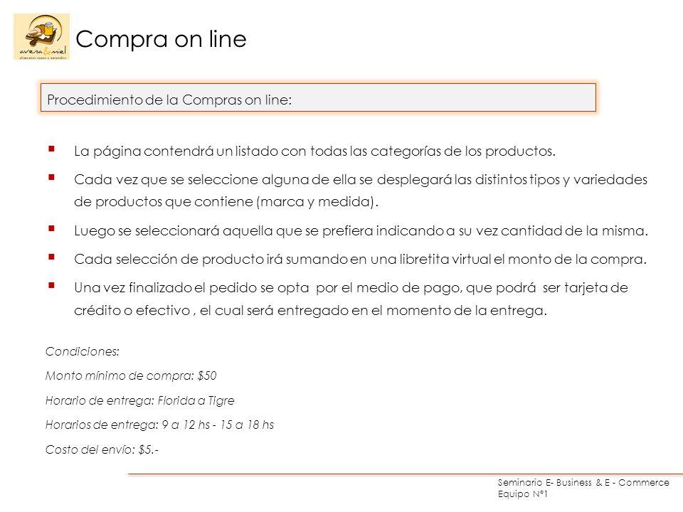 Seminario E- Business & E - Commerce Equipo N°1 Compra on line La página contendrá un listado con todas las categorías de los productos. Cada vez que