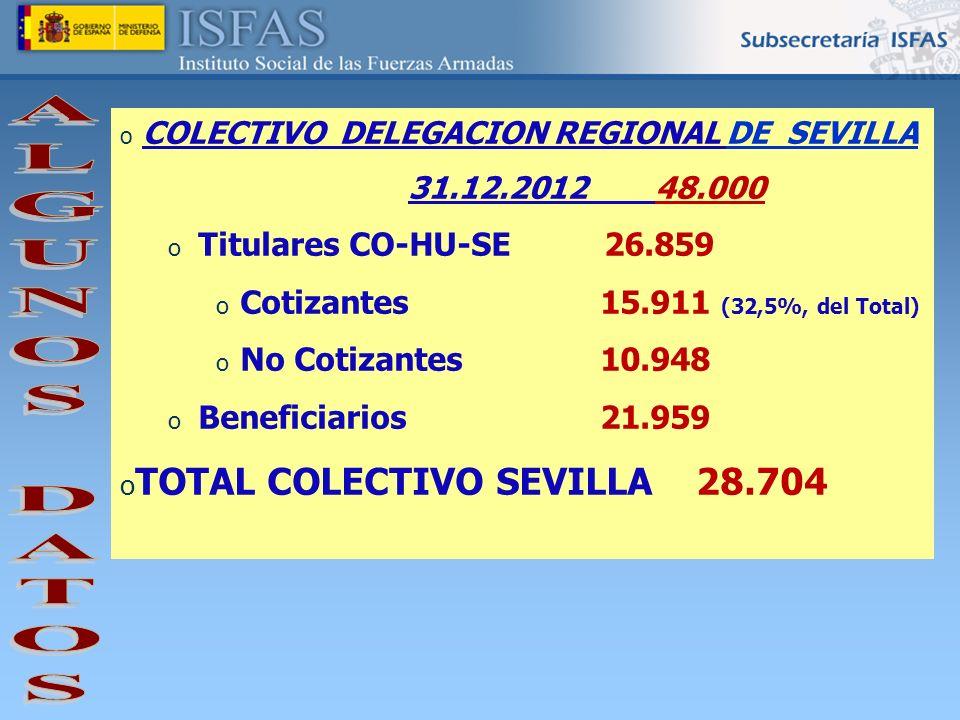 o COLECTIVO DELEGACION REGIONAL DE SEVILLA 31.12.2012 48.000 o Titulares CO-HU-SE 26.859 o Cotizantes15.911 (32,5%, del Total) o No Cotizantes10.948 o
