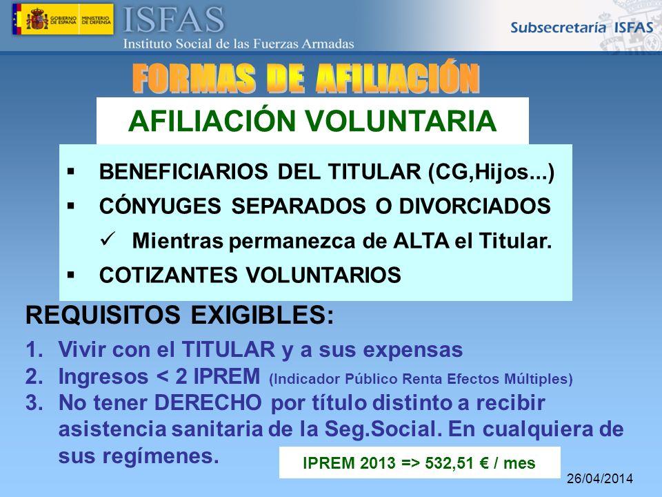 26/04/2014 AFILIACIÓN VOLUNTARIA BENEFICIARIOS DEL TITULAR (CG,Hijos...) CÓNYUGES SEPARADOS O DIVORCIADOS Mientras permanezca de ALTA el Titular. COTI