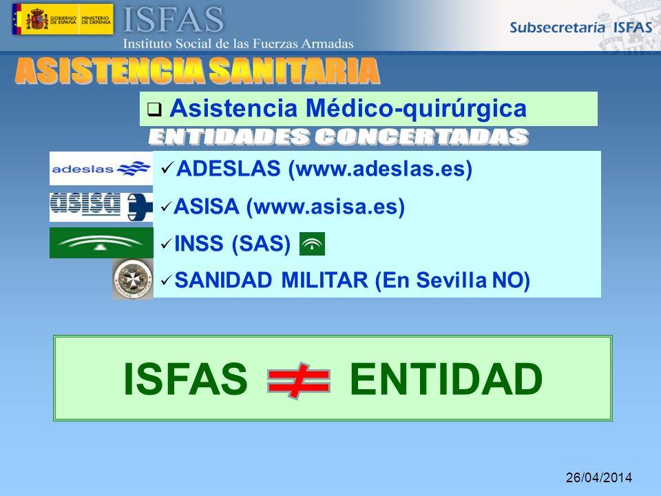 26/04/2014 ADESLAS (www.adeslas.es) ASISA (www.asisa.es) INSS (SAS) SANIDAD MILITAR (En Sevilla NO) Asistencia Médico-quirúrgica ISFAS ENTIDAD
