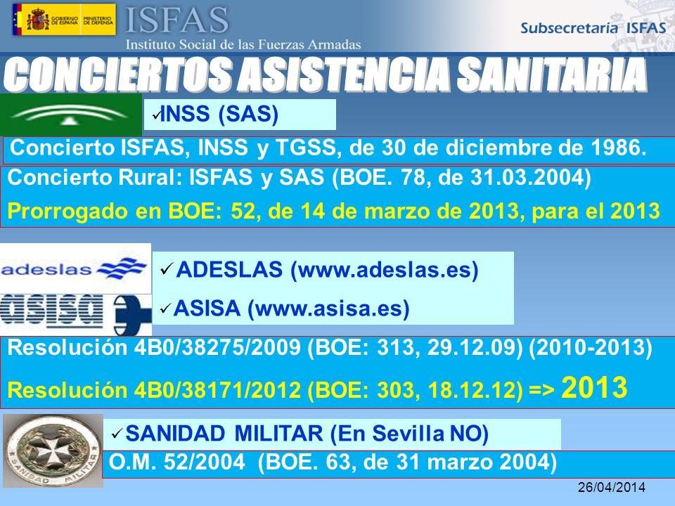 26/04/2014 ADESLAS (www.adeslas.es) ASISA (www.asisa.es) Resolución 4B0/38275/2009 (BOE: 313, 29.12.09) (2010-2013) Resolución 4B0/38171/2012 (BOE: 30