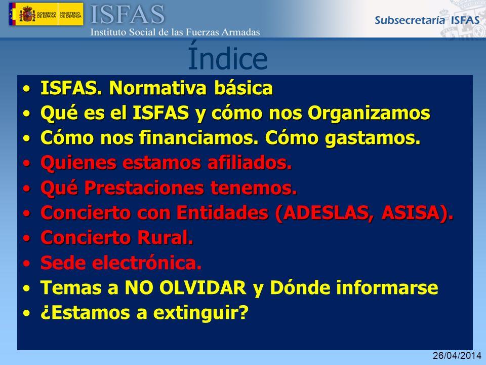 26/04/2014 Índice ISFAS. Normativa básicaISFAS. Normativa básica Qué es el ISFAS y cómo nos OrganizamosQué es el ISFAS y cómo nos Organizamos Cómo nos