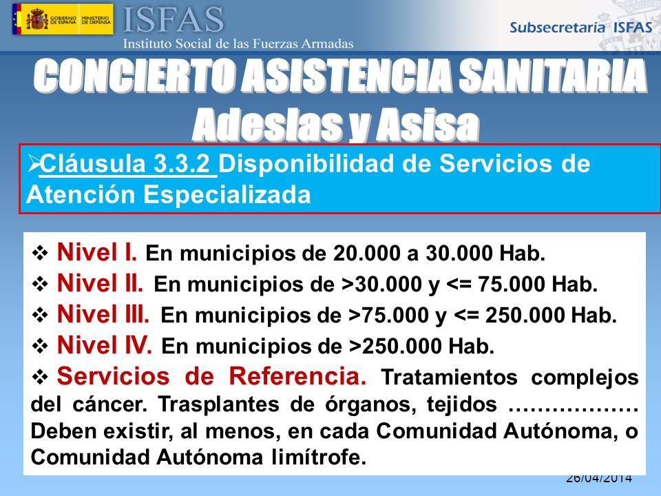 26/04/2014 Cláusula 3.3.2 Disponibilidad de Servicios de Atención Especializada Nivel I. En municipios de 20.000 a 30.000 Hab. Nivel II. En municipios