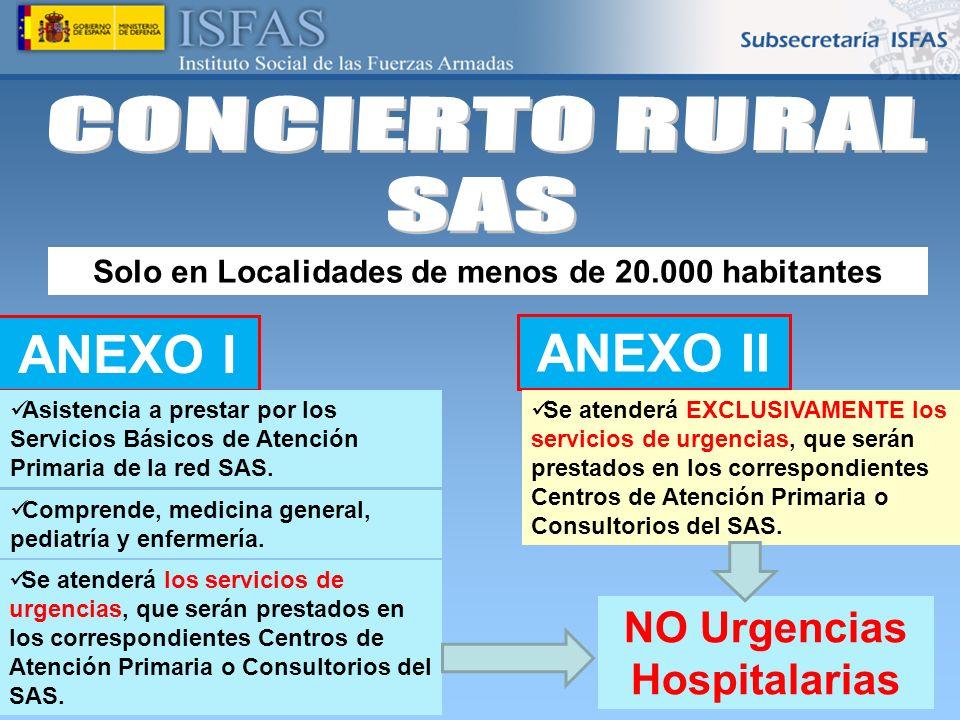 26/04/2014 ANEXO I Asistencia a prestar por los Servicios Básicos de Atención Primaria de la red SAS. Solo en Localidades de menos de 20.000 habitante