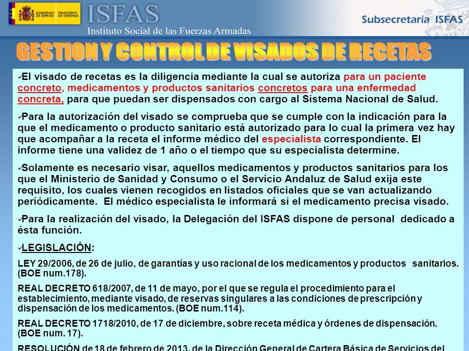 26/04/2014 El visado de recetas es la diligencia mediante la cual se autoriza para un paciente concreto, medicamentos y productos sanitarios concretos