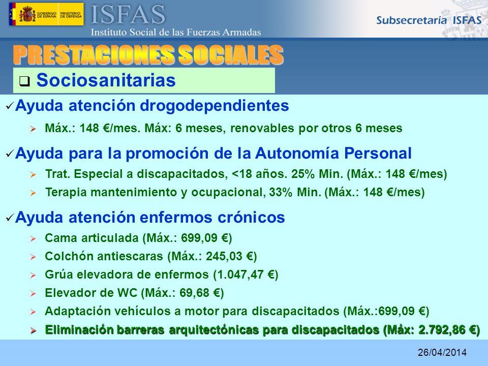 26/04/2014 Sociosanitarias Ayuda atención drogodependientes Máx.: 148 /mes. Máx: 6 meses, renovables por otros 6 meses Ayuda para la promoción de la A