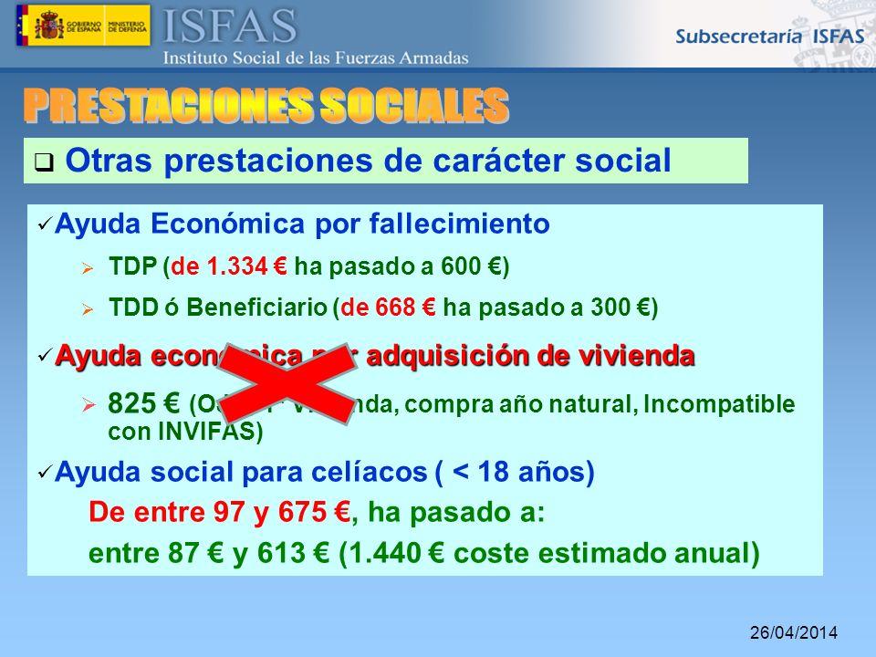 26/04/2014 Otras prestaciones de carácter social Ayuda Económica por fallecimiento TDP (de 1.334 ha pasado a 600 ) TDD ó Beneficiario (de 668 ha pasad