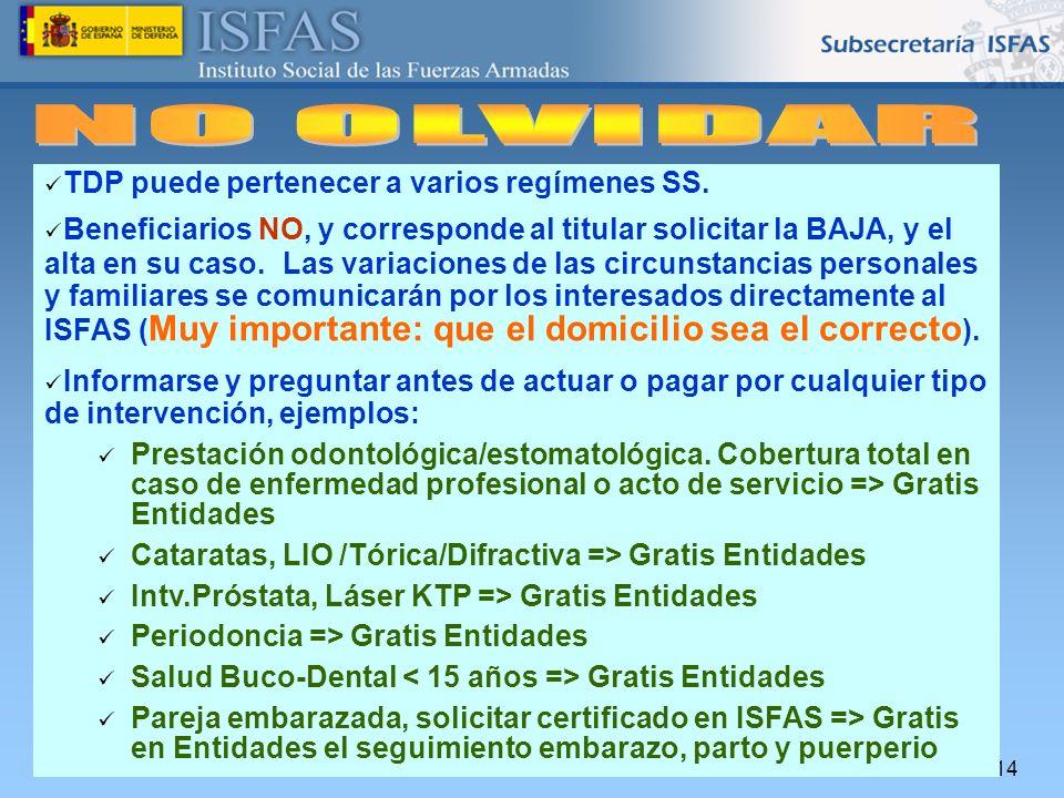 26/04/2014 TDP puede pertenecer a varios regímenes SS. Beneficiarios NO, y corresponde al titular solicitar la BAJA, y el alta en su caso. Las variaci