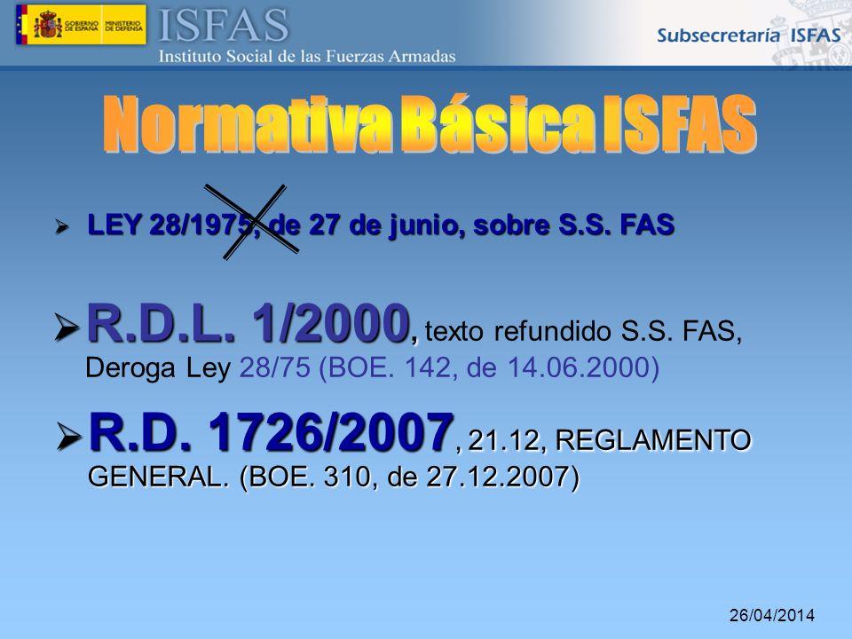 26/04/2014 R.D.L. 1/2000, R.D.L. 1/2000, texto refundido S.S. FAS, Deroga Ley 28/75 (BOE. 142, de 14.06.2000) R.D. 1726/2007, 21.12, REGLAMENTO GENERA