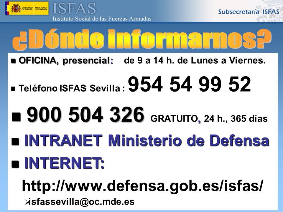 26/04/2014 OFICINA, presencial: de 9 a 14 h. de Lunes a Viernes. OFICINA, presencial: de 9 a 14 h. de Lunes a Viernes. Teléfono ISFAS Sevilla : 954 54