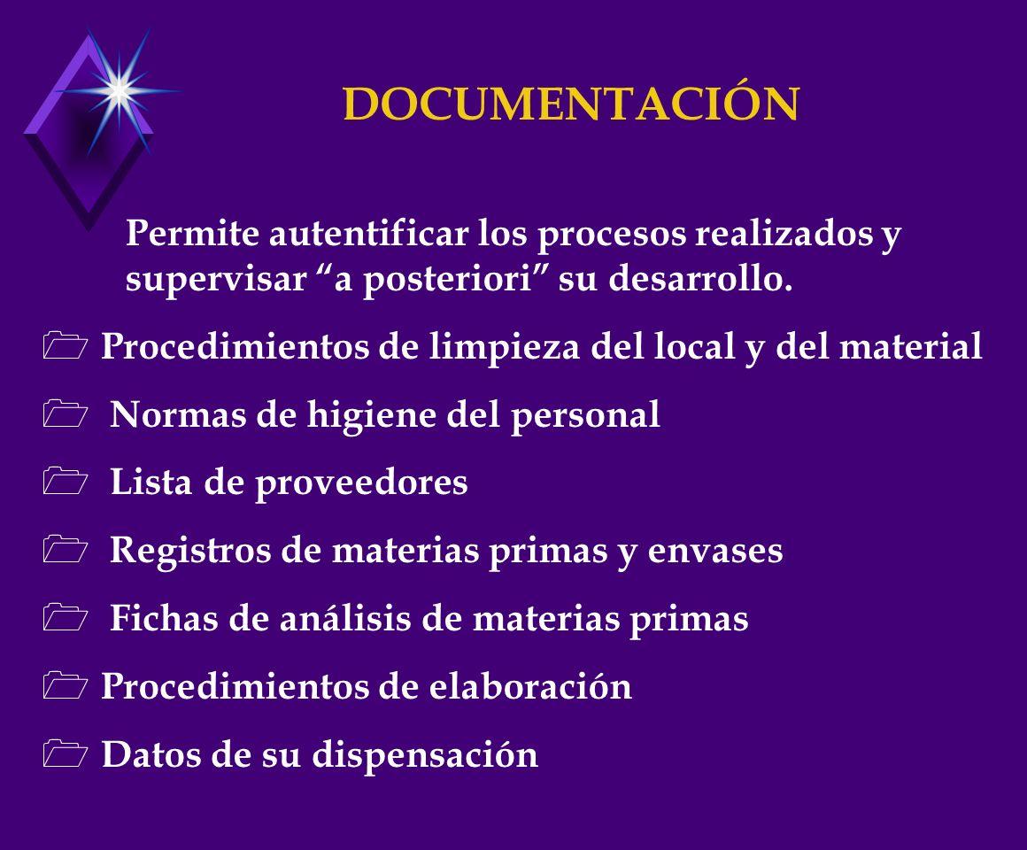 DOCUMENTACIÓN Permite autentificar los procesos realizados y supervisar a posteriori su desarrollo.