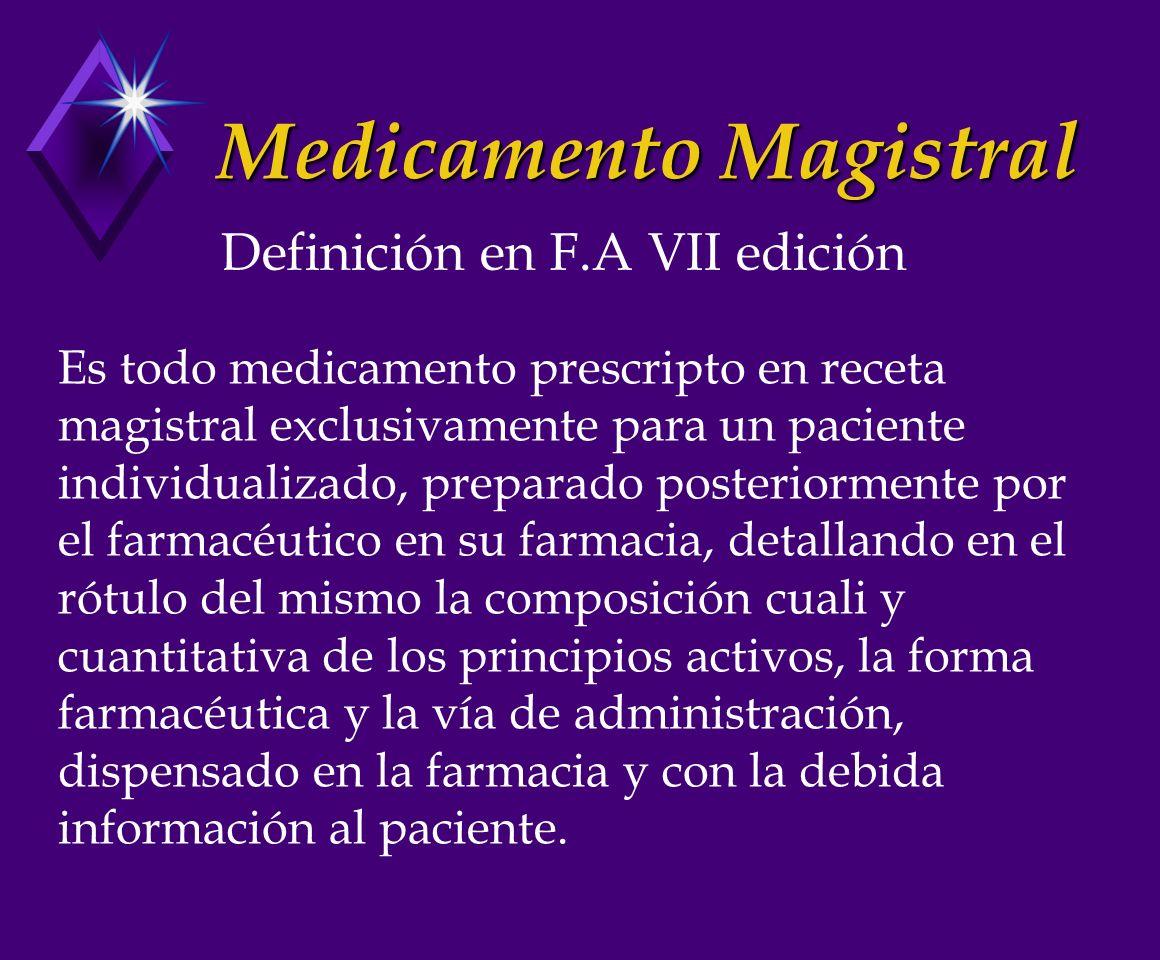 Medicamento Oficinal Son las drogas fraccionadas y dispensadas, o los medicamentos preparados y dispensados por el farmacéutico en su farmacia, que presenten en la Farmacopea Argentina la leyenda de: MEDICAMENTO OFICINAL Definición:
