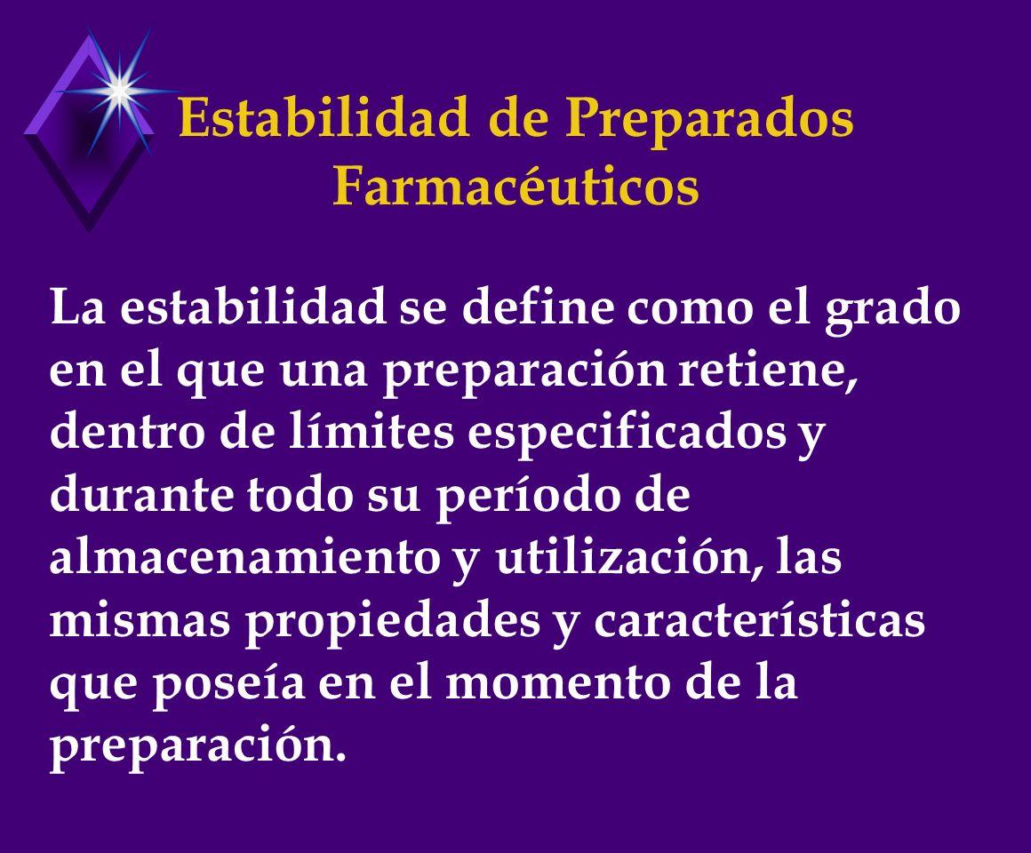 Estabilidad de Preparados Farmacéuticos La estabilidad se define como el grado en el que una preparación retiene, dentro de límites especificados y durante todo su período de almacenamiento y utilización, las mismas propiedades y características que poseía en el momento de la preparación.