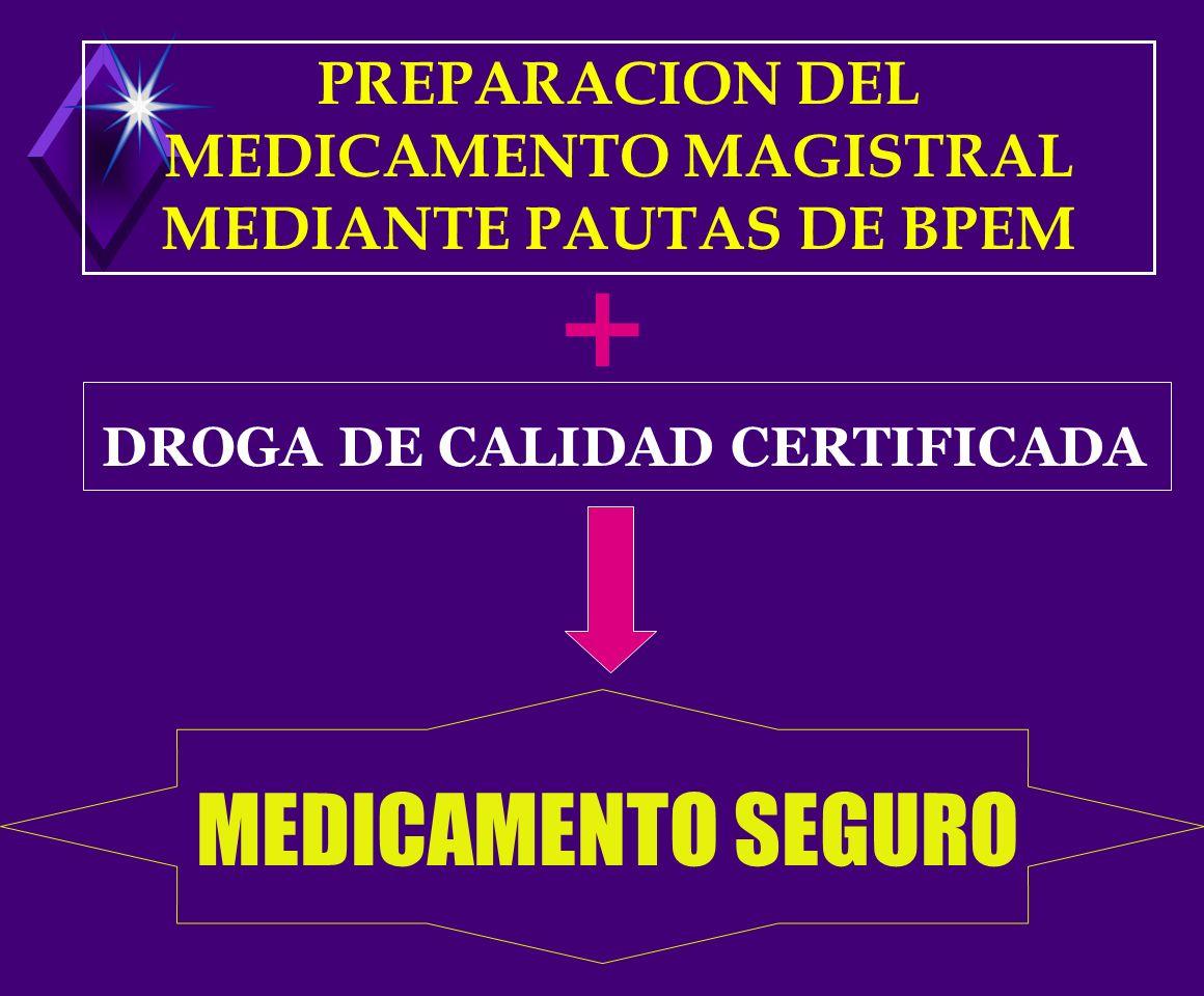 PREPARACION DEL MEDICAMENTO MAGISTRAL MEDIANTE PAUTAS DE BPEM DROGA DE CALIDAD CERTIFICADA MEDICAMENTO SEGURO +