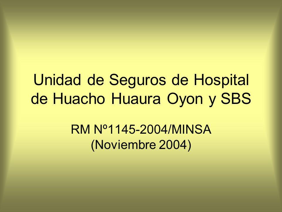 Unidad de Seguros de Hospital de Huacho Huaura Oyon y SBS RM Nº1145-2004/MINSA (Noviembre 2004)