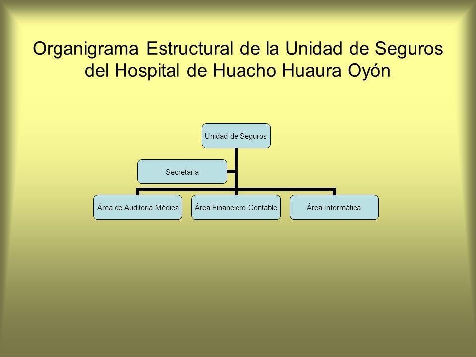 Organigrama Estructural de la Unidad de Seguros del Hospital de Huacho Huaura Oyón Unidad de Seguros Área de Auditoria Médica Área Financiero Contable