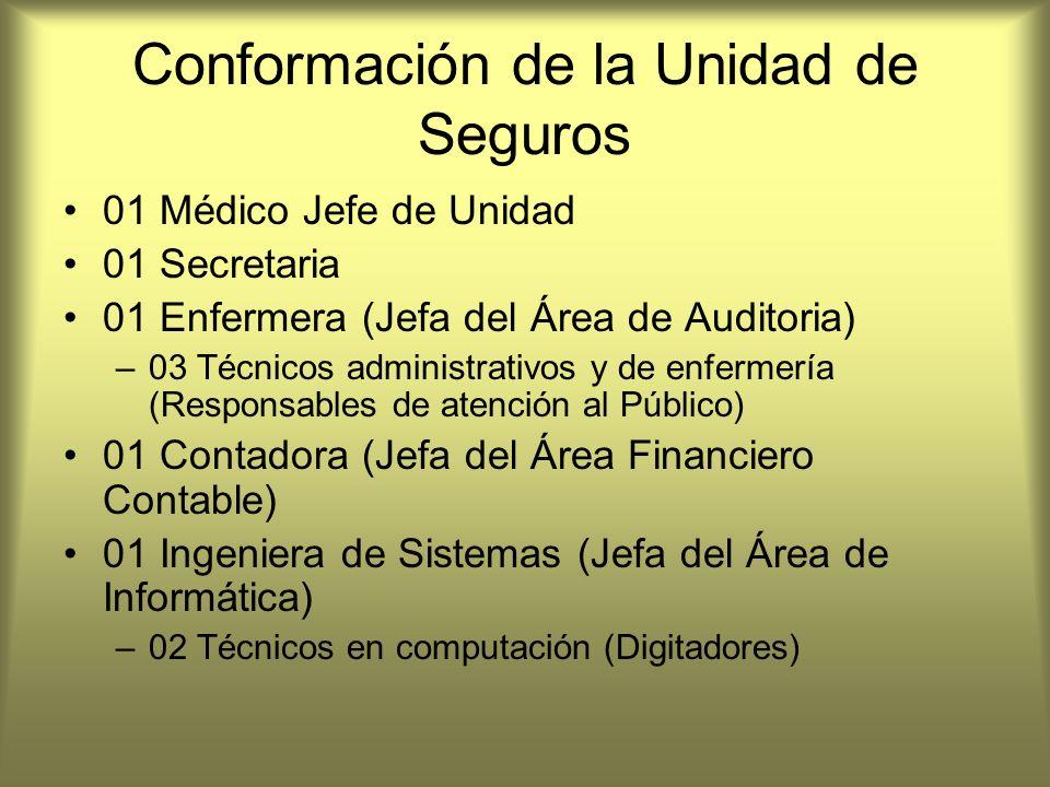 Conformación de la Unidad de Seguros 01 Médico Jefe de Unidad 01 Secretaria 01 Enfermera (Jefa del Área de Auditoria) –03 Técnicos administrativos y d