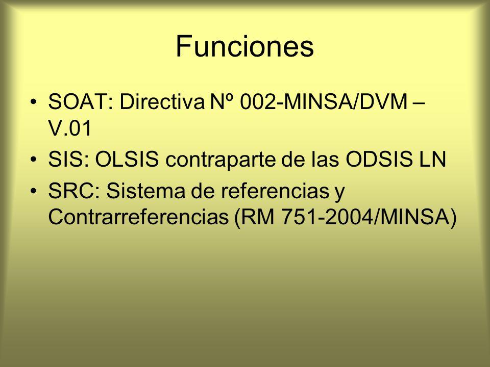 Funciones SOAT: Directiva Nº 002-MINSA/DVM – V.01 SIS: OLSIS contraparte de las ODSIS LN SRC: Sistema de referencias y Contrarreferencias (RM 751-2004