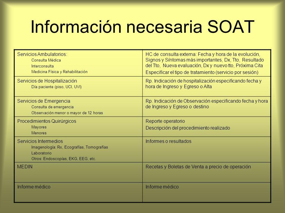 Información necesaria SOAT Servicios Ambulatorios: Consulta Médica Interconsulta Medicina Física y Rehabilitación HC de consulta externa: Fecha y hora