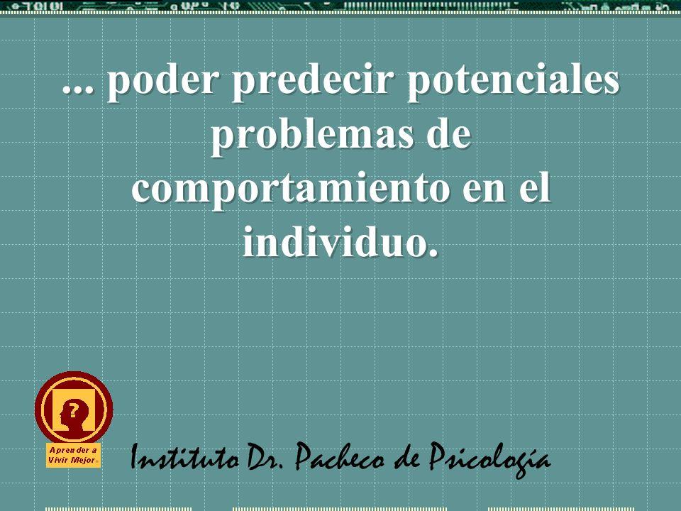 Instituto Dr. Pacheco de Psicología... poder predecir potenciales problemas de comportamiento en el individuo.