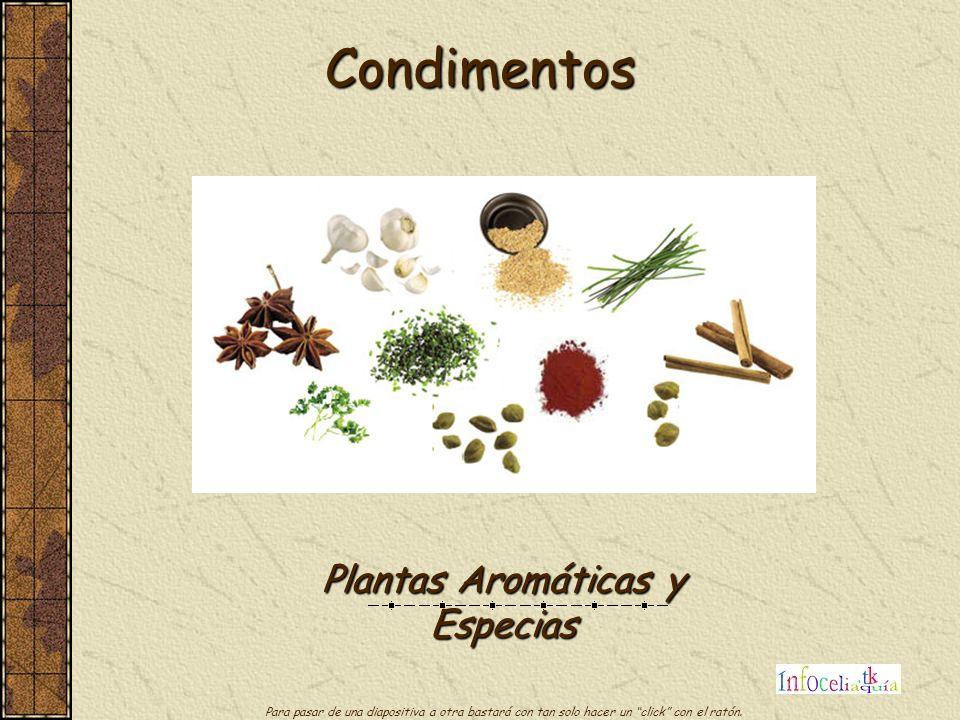 Condimentos Plantas Aromáticas y Especias Para pasar de una diapositiva a otra bastará con tan solo hacer un click con el ratón.