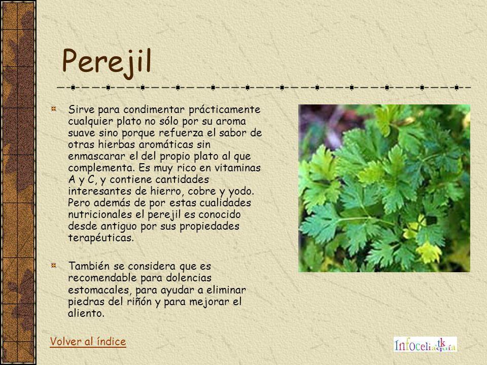 Perejil Sirve para condimentar prácticamente cualquier plato no sólo por su aroma suave sino porque refuerza el sabor de otras hierbas aromáticas sin