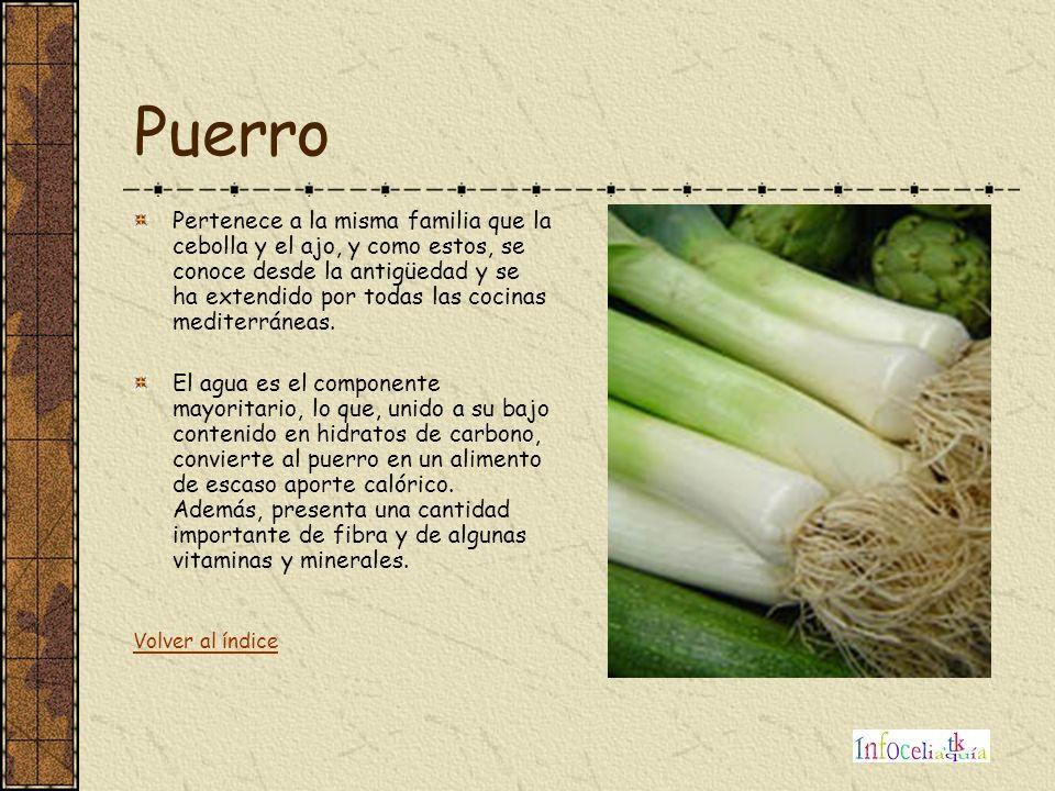 Puerro Pertenece a la misma familia que la cebolla y el ajo, y como estos, se conoce desde la antigüedad y se ha extendido por todas las cocinas medit