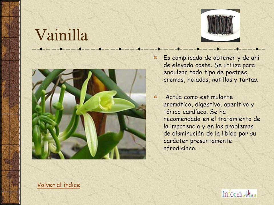 Vainilla Es complicada de obtener y de ahí de elevado coste. Se utiliza para endulzar todo tipo de postres, cremas, helados, natillas y tartas. Actúa
