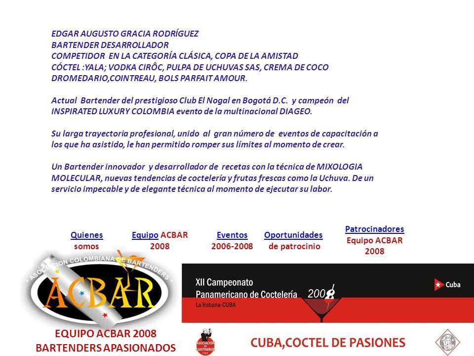 EquipoEquipo ACBAR 2008 Quienes Quienes somos Eventos 2006-2008 Oportunidades de patrocinio Patrocinadores Equipo ACBAR 2008 IVÁN ANTONIO RAMÍREZ.