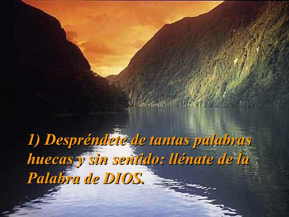 1) Despréndete de tantas palabras huecas y sin sentido: llénate de la Palabra de DIOS.