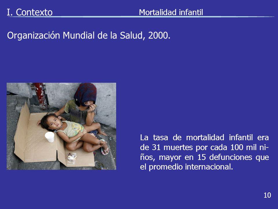 I. Contexto Mortalidad infantil 10 La tasa de mortalidad infantil era de 31 muertes por cada 100 mil ni- ños, mayor en 15 defunciones que el promedio