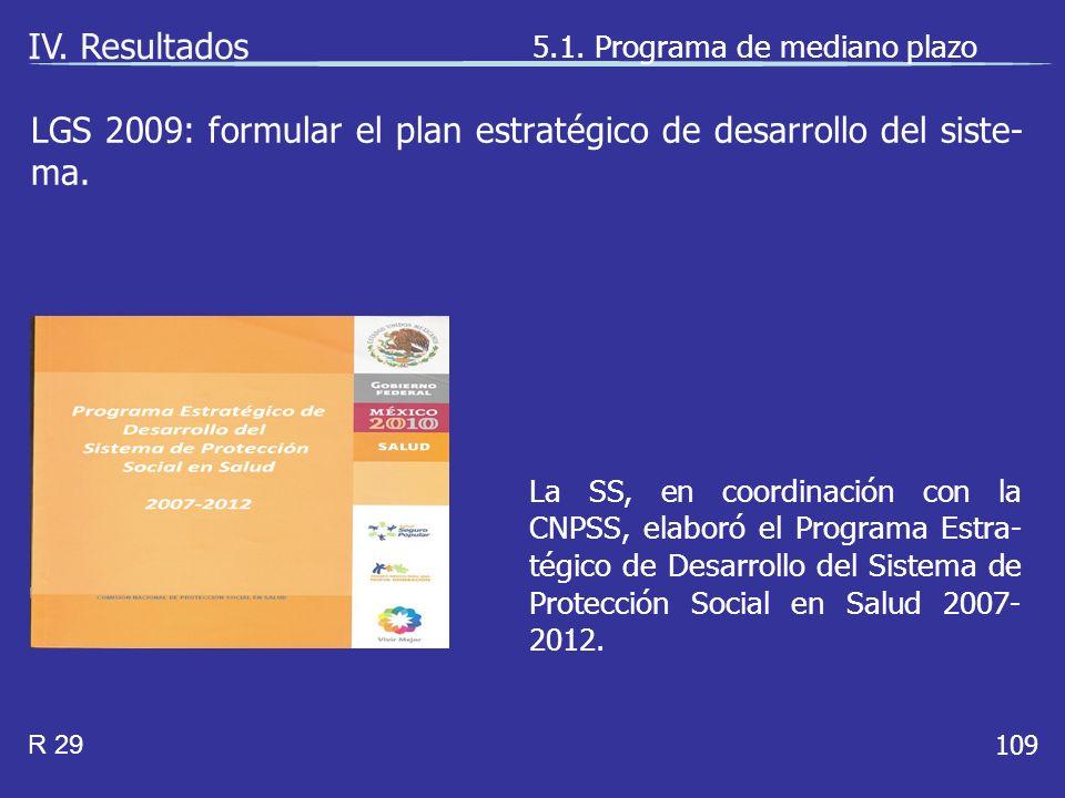 109 La SS, en coordinación con la CNPSS, elaboró el Programa Estra- tégico de Desarrollo del Sistema de Protección Social en Salud 2007- 2012.